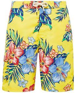 """Polo Ralph Lauren Men's Kailua 8 1/2"""" Inseam Board Shorts Yellow Hibiscus Medium"""
