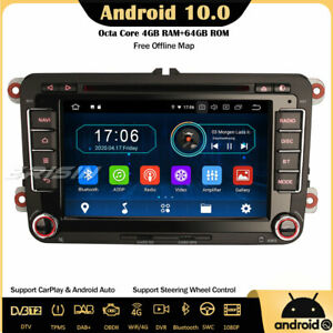 8-Core CarPlay Android 10 Car Stereo For VW Passat Golf MK V Tiguan Polo Seat CD