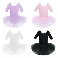Girls Gymnastics Ballet Dress Kids Leotard Tutu Skirt Dance Ballerina Costumes