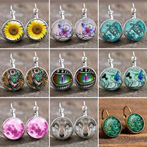 Time Gem Earrings Flower Ear Hook Dangle Drop Retro Jewellery Round Earring Gift