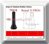 """100 TR418 Valves STANDARD 2"""" SNAP IN TUBELESS BLACK RUBBER TIRE VALVE STEM"""