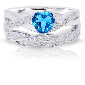 Infinity Celtic Blue Topaz Heart Engagement Wedding Silver Ring Set