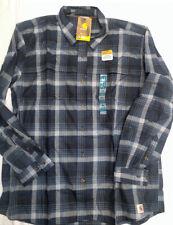 Carhartt 102828 Beartooth Plaid Flannel shirt  sz 2X Steel Blue B14-2828