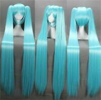Vocaloid Hatsune Miku + 2 Ponytails Blue Cosplay Anime Long Wig 120cm+hairnet