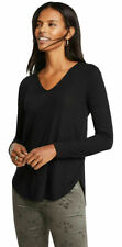 Ann Taylor Mixed Media V-Neck Women's Top - Black, Size M