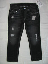True Religion Straight Jeans Destroyed-Faded Black Grave Robber-Size 33 NWT-$273