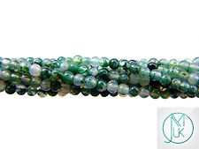 Moss Agate Natural Gemstone Round Beads 3mm Jewellery Making (120+ Beads)