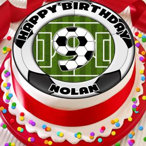 FOOTBALL BORDER HAPPY BIRTHDAY PERSONALISED 7.5 INCH EDIBLE CAKE TOPPER C-025G