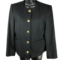 NWT $198 Talbots Black 100% Wool Padded Button Front Jacket Women's Size 8