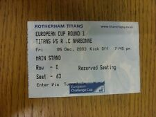 05/12/2003 Ticket Rugby Union, Rotherham V Narbonne [european cup]. merci pour