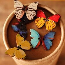 50pcs 2 Holes Mixed Butterfly Wooden Button Sewing Scrapbooking DIY Craft New
