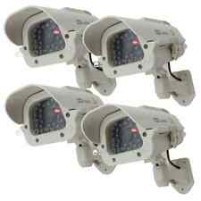 4 Solar Dummy Security Camera Fake Flashing Light Infrared LED CCTV Surveillance
