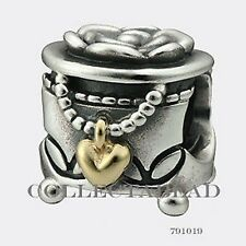 Authentic Pandora  Sterling Silver & 14k Gold Jewelry Box Bead 791019