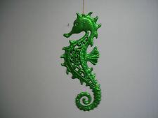 Nautical Marine Life Seahorse Green Glitter Figurine Hanging Ornament NWT