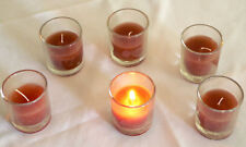 24 Chocolate Brown Wax 6cm Glass Holder Wedding Table Decoration Votive Candle