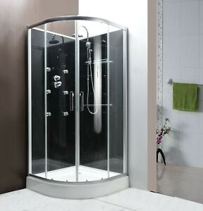 800x800mm Modern Quadrant Shower Room Cubicle Enclosure Cabin WITH MASSAGE JETS