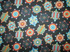 Navajo Totem Turtle Beaded Like Dream Catcher Black Cotton Fabric BTHY