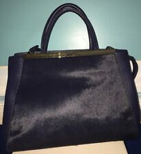 NWT Halston Heritage Blue Large Leather And Pony Hair Satchel - MSRP $695
