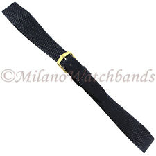 20mm Hirsch Black Genuine Lizard Flat Unstitched Tapered Open Ended Band Long