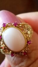 De Buman Pink Opal, Ruby 18K YG Over Sterling Silver 925 Ring Size 7 NEW