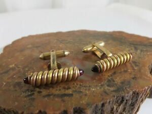 Vintage Mid Century Modern Red Glass Gold Plate Mens Cuff Links RP4