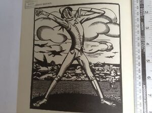 1930s Art Deco Woodcut print The Scarecrow by Monica Rawlins: farming, crows