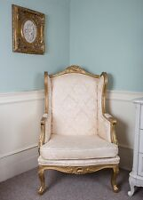 French Wingback Queen Ann Arm Gold Damask Shabby Chic Bedroom Hallway Chair Gilt