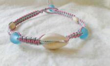 Cowrie Shell  Hemp Anklet Handmade Ankle Bracelet Pink Blue Surfer Boho Beach