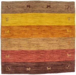 Modern Multicolored Stripes Design 3X3 Tribal Oriental Square Rug Decor Carpet