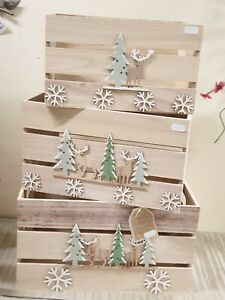 Set of 3 Wooden Christmas Crates Hamper Box Storage Display Winter Stag