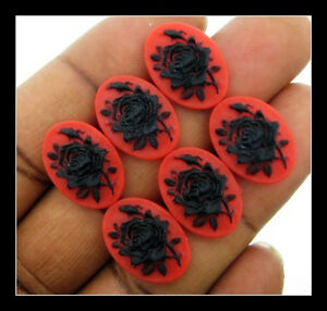 24 pieces  18x13mm Black on Red Cameos