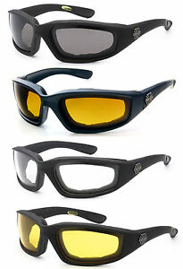 3 PAIRS COMBO Chopper Padded Wind Resistant Sunglasses Motorcycle Riding Glasses