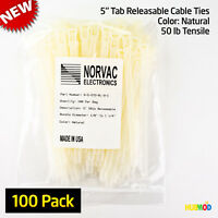 """100 Pack 5"""" Medium Natural Nylon Cable Zip Ties Wire Tab Releasable Reusable NEW"""