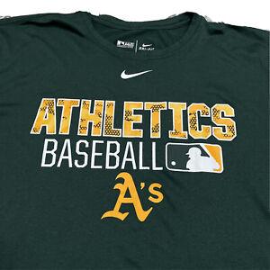 NIKE Oakland Athletics Baseball Dri-Fit Green Activewear T Shirt Men's 2XL Tee