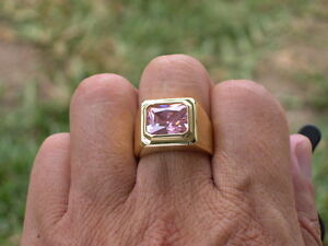 11 X 9 mm Solitaire October Pink Rose CZ Birthstone Men's Ring Jewelry Size 7