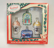 SET OF 4 2003 BRADFORD NOVELTY SODA SHOP GLASS CHRISTMAS TREE ORNAMENTS IN BOX