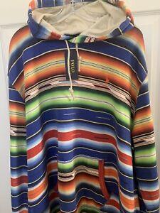 Polo Ralph Lauren Southwestern Aztec Serape Indian Blanket Fleece Hoodie XXL