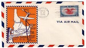 C23 Eagle & Shield 6c Airmail FDC 1938 -  Planty #6 Pocatello ID  NAMW