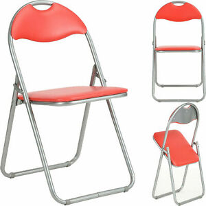 Folding Chair Faux Leather Padded Seat Back Rest Computer Office Garden Home PVC