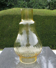 """Vintage Yellow Fluted Swirl Glass Oil Lamp Chimney 57mm 2 1/4"""" Unbranded"""