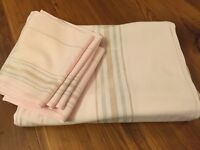 "Vintage Lt Pink Gold Silver LINEN OBLONG Tablecloth 58"" x 87"" 8 Napkins 14"" Sq."