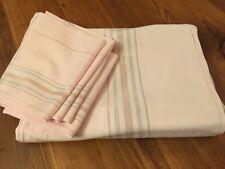 "Vintage Lt Pink Gold Silver LINEN OBLONG Tablecloth 58"" x 87"" 8 Napkins 14"" Sq."