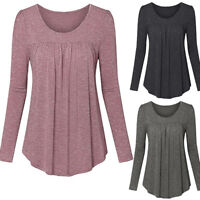 Women's Loose Baggy Tops Casual Blouse Long Sleeve Boat Neck Long Tunic T-Shirt
