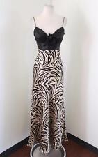 Jovani Black Gold Zebra Print Beaded Formal Prom Dress Evening Gown Size 2 Silk