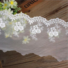 1 Yard Embroidered Lace Trim Cotton Mesh Flower Ribbon Wedding Fabric Sewing