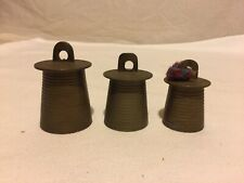 Antique Set of 3 Brass Bells India Different Sizes Patina