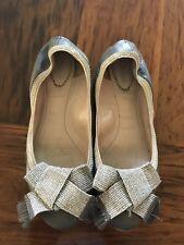 CHLOE Gray Flats Gold Bow 39