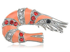Delicate Enamel Shell Pin Crystal Rhines Sparkle Shrimp Seafood Brooch Pin Jewel