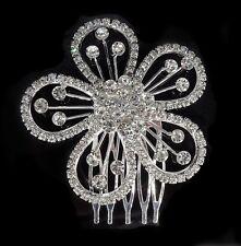 Bridal Wedding Flower Crystal Rhinestone Headband Hair Clip Comb Silver