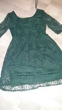 Ladies Dark Green Skater/Tea Dress lace lined 3/4 sleeved size14 Scoop Neck
